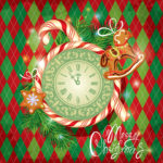 Holiday Card with watch, candy, xmas gingerbread and fir tree br